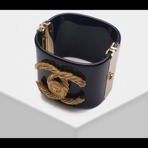 Chanel vintage bangle lucite gold cuff